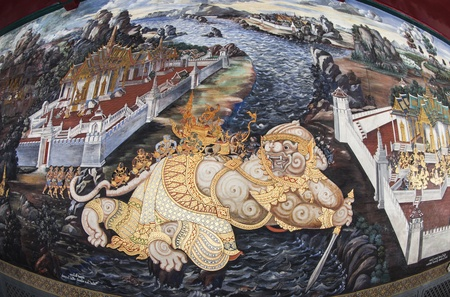 ramayana: Masterpiece Ramayana painting in temple of emerald Buddha in Grand Palace in Thailand Editorial