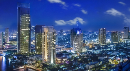 City town at night in Bangkok, Thailand  photo