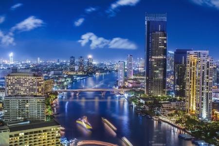 City town at night in Bangkok, Thailand