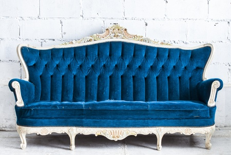 blue vintage sofa on white background  photo