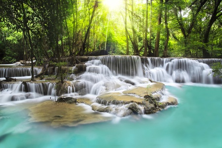 erawan: Second level of Erawan Waterfall in Kanchanaburi Province, Thailand