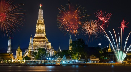 wat arun: Wat arun under new year selebration time, Thailand Stock Photo
