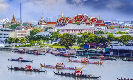 Landscape of Thais king palace with guard ship on the front. photo