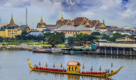 bangkok temple: Landscape of Thais king palace with guard ship on the front.
