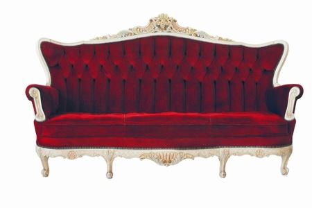 blue leather sofa: Red divano d'epoca
