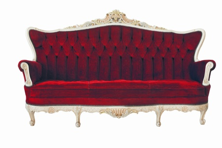couch: Red vintage sofa