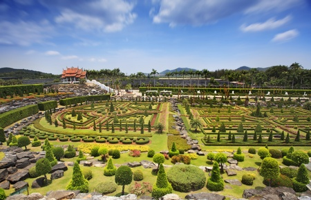 valley of the temples: landscape of pavilion in green garden with blue sky
