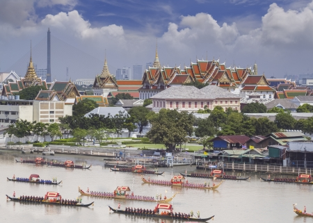guard ship: Landscape of Thais king palace with goldent guard ship on the front.