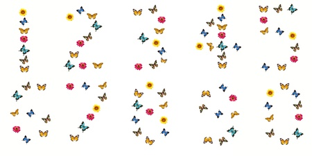 number from butterfly and flower photo