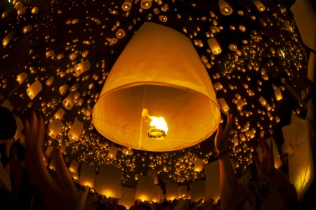 yeepeng: Yeepeng festival and fire work in chiangmai, Thailand