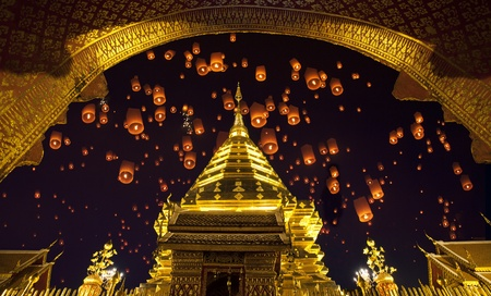 Doi suthep, golden pagoda and yeepeng in new year celebration fastival. photo