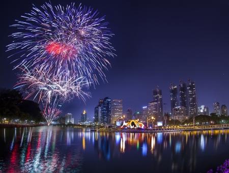 king of thailand: City town at night, Bangkok, Thailand in King celebration. Stock Photo