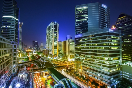 Bangkok city night view with main traffic photo