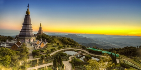 phon: Landscape of Two pagoda at Doi Inthanon, chiangmai - Thailand, between sunset time.