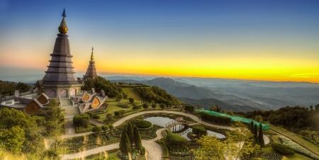 doi: Landscape of Two pagoda at Doi Inthanon, chiangmai - Thailand, between sunset time.