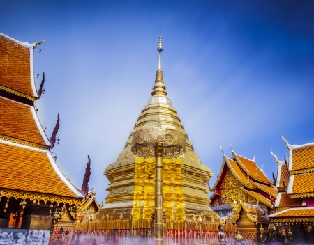 Wat Phra That Doi Suthep is a major tourist destination of Chiang Mai, Thailand.