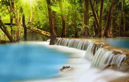 background waterfalls: Level two of Huai Mae Kamin Waterfall in Kanchanaburi Province, Thailand Stock Photo
