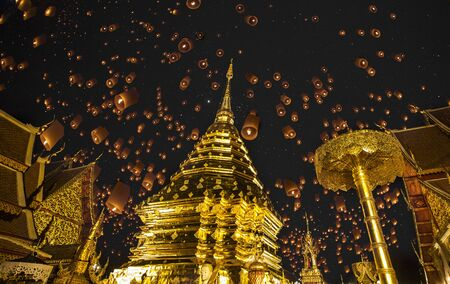 Doi suthep, golden pagoda and yeepeng in new year celebration fastival   photo