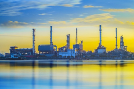 Refinery industrial plant with river and sunset Stock Photo - 17628709