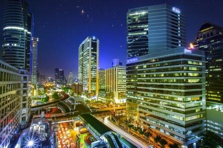 bangkok night: Bangkok city night view with main traffic