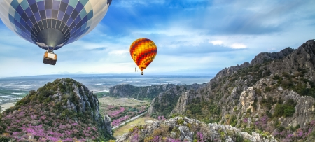 Lanscape of mountain and balloon with sakura flower photo