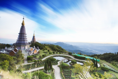 Landscape of two pagoda in an Inthanon mountain, Thailand. Stock Photo - 17631528