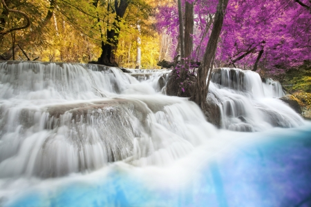 kanchanaburi: Level six of Erawan Waterfall in Kanchanaburi Province, Thailand Stock Photo