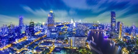 phraya: Bangkok city at twilight whit express way and cho pra-ya river, Thailand.  Stock Photo