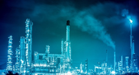 Scenic of petrochemical oil refinery plant shines at night