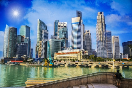 Landscape of the Merlion and Singapore financial district