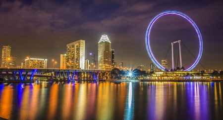 Landscape of Singapore flyer with urban scene