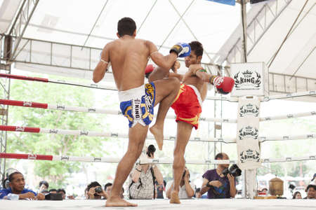 AYUTTHAYA, THAILAND- MARCH 17    Thai boxing match at Muay Thai Fight Fastival on March 17, 2013 in Ayutthaya, Thailand