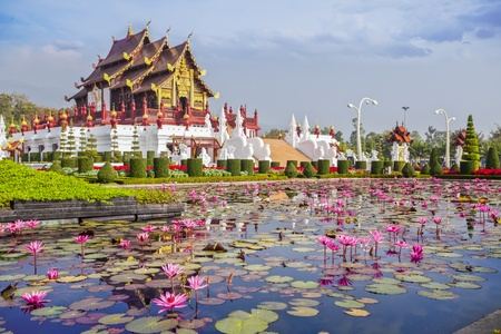 flower structure: Chiangmai royal pavilion with lotus flower.