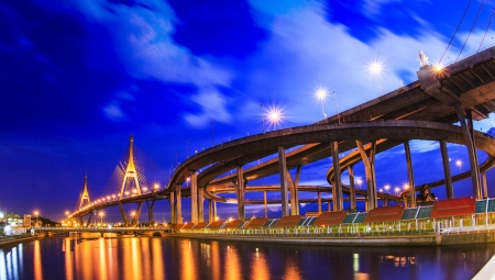 Bhumibol bridge in Bangkok, Thailand  photo