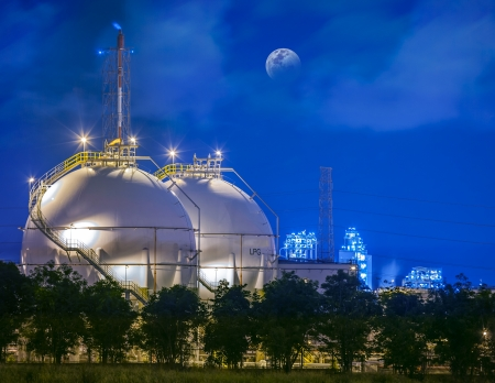 petroleum: Landscape of sphere tank of storage gas and liquid chamical. Stock Photo