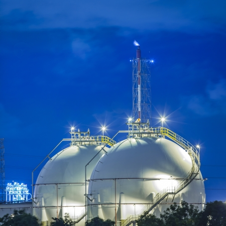 pollutant: Landscape of sphere tank of storage gas and liquid chamical. Stock Photo