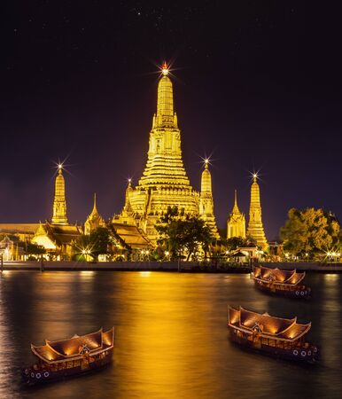phraya: Landscape of River and Arun Temple in Bangkok city in fesival night time