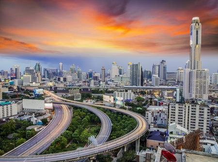 bangkok city: Bangkok city day view with main traffic
