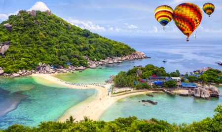 Nangyuan island with rainbow and Cloud,Thailand photo