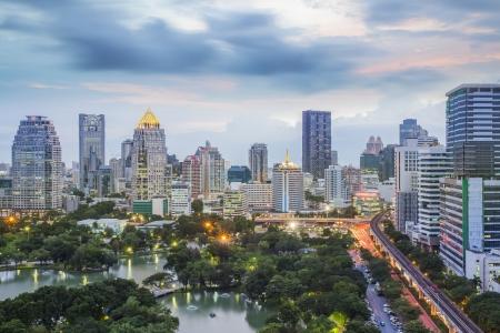 modern apartment: landscape of big garden in Bangkok, Thailand
