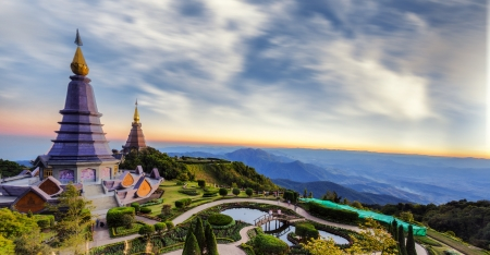 Two pagoda at Doi Inthanon, chiangmai - Thailand, between sunset time  Stock Photo - 21441736