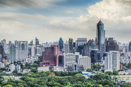 Bangkok city day view with main garden