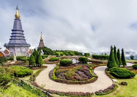 phon: Landscape of Two pagoda at Doi Inthanon, chiangmai - Thailand