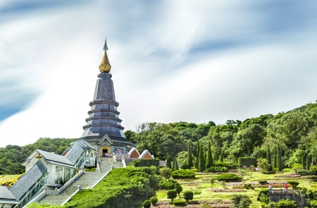 Landscape of Two pagoda at Doi Inthanon, chiangmai - Thailand Stock Photo - 21825435