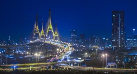 bangkok city: BANGKOK, THAILAND-AUG25:The Bhumibol Bridge , one of Thailand most famous bridges, spanning the river Choa Phraya on Aug 25 ,2013 in Bangkok, Thailand. Editorial