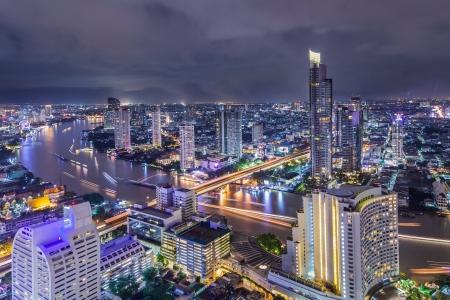 chao phraya river: Bangkok at dusk with main river Editorial
