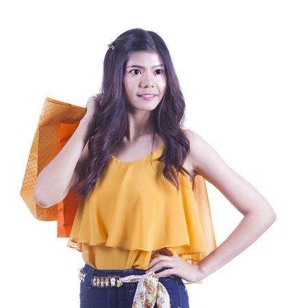Asian woman with shopping bag white isolated white background and clipping part photo