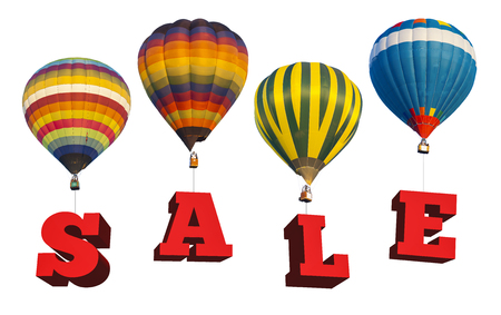 Sale information with hot air balloon isolated on white background photo