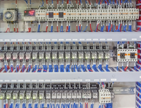 factory automation:  automation panel board with magnetic, PLC and control board Stock Photo