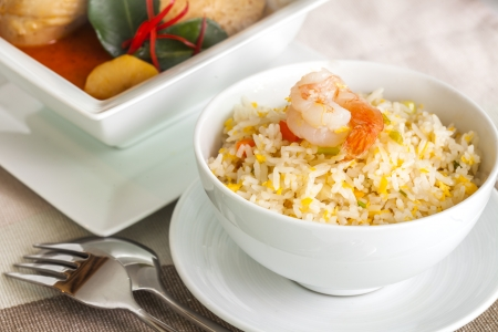 beef curry: Menu Shrimp fried rice and Beef or chicken mussaman curry